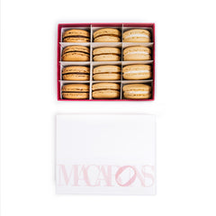 12-piece box of assorted macarons including salty caramel, chocolate ganache and almond vanilla
