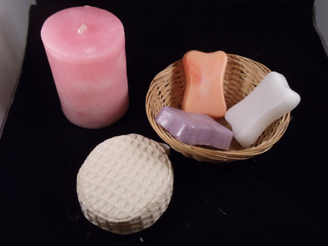 Scented Pillar Candle Gift Basket-  Aroma Therapy Spa Candle and Soap Gift Set - Head Art Works