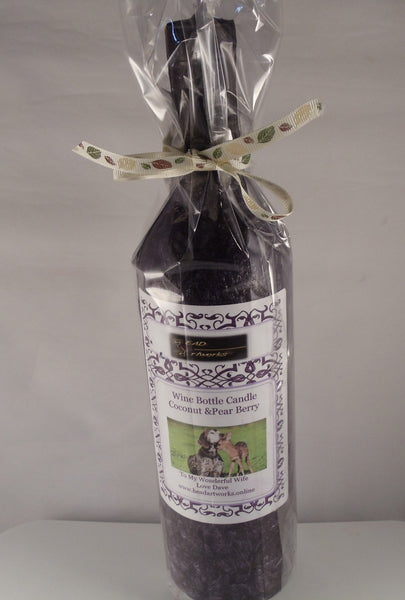 Candle Bottle Centerpiece Coconut & Pearberry- Custom Designed Adorable Scene of Deer & Puppy - Head Art Works