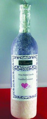 Wine Candle  Bottle Centerpiece- Novelty Candle - Vanilla Coconut Candle - Head Art Works