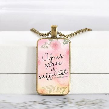Rectangular Glass Vintage Scripture Pendant Necklace-Apparel-CorrieLeeAnn'sBoutique