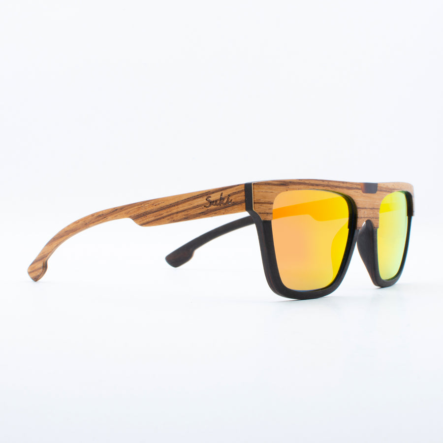 Wooden Sunglasses Tambora Zebrawood Revo Orange Suki