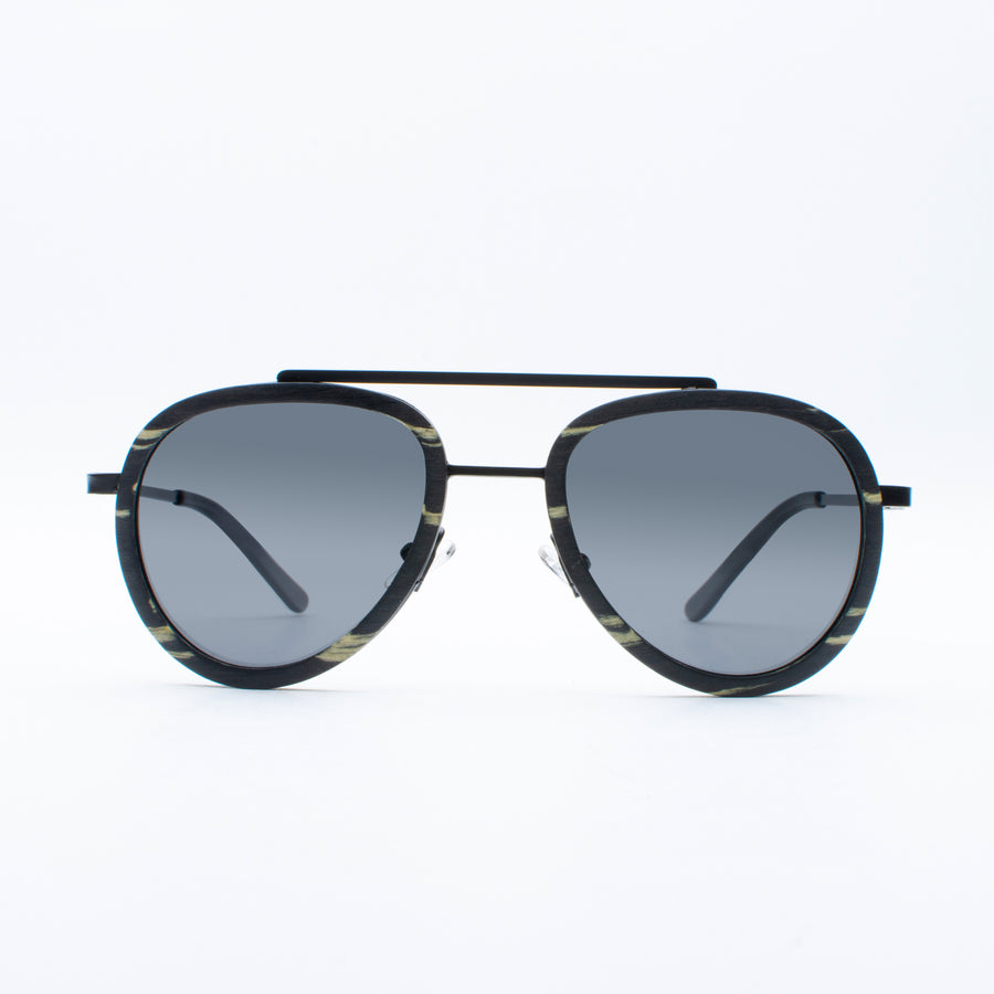 Wooden Sunglasses Yak Ebony White Suki