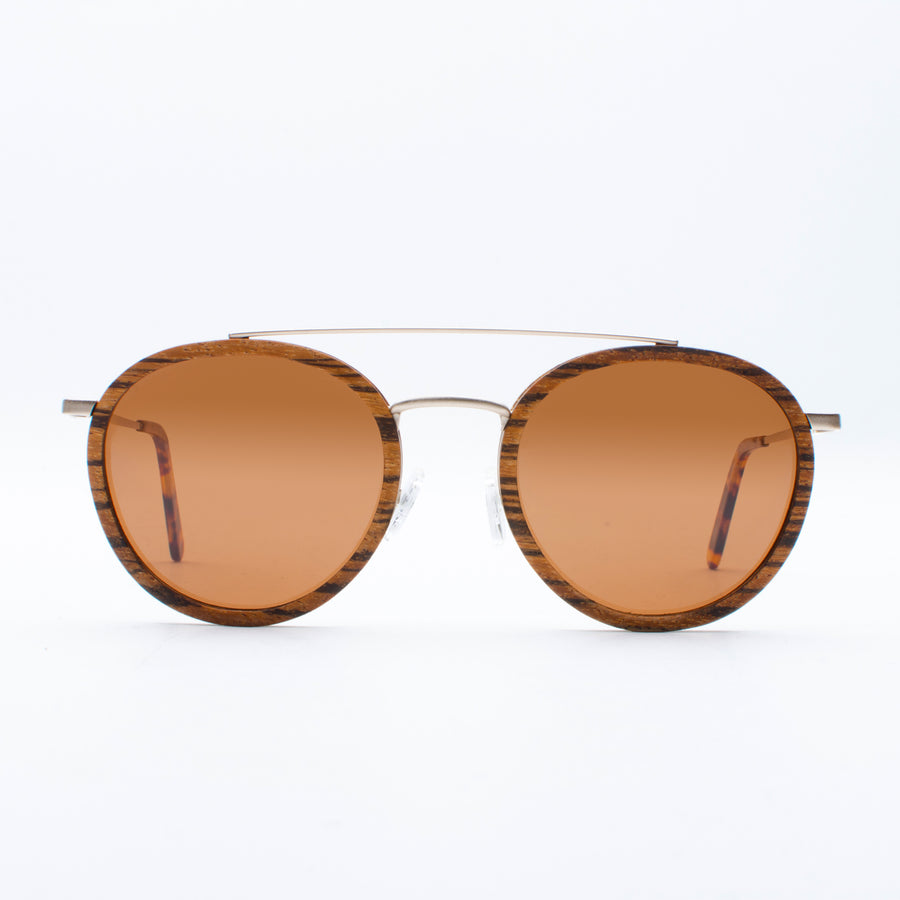 Wooden Sunglasses Yak Zebrawood Brown Suki
