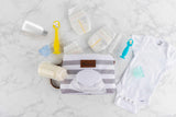 Gray Diaper Clutch + Blue Mini Diaper Cream Brush