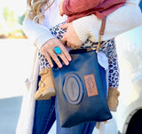 Black Leather Diaper Clutch