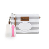 Gray Diaper Clutch + Pink Mini Diaper Cream Brush