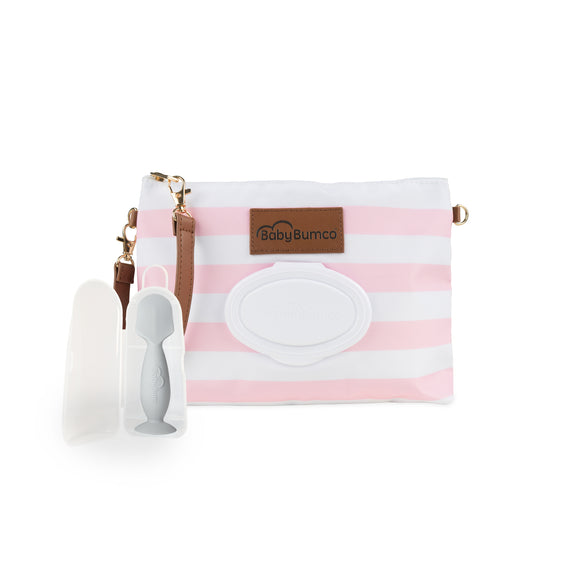 Pink Diaper Clutch + Gray Mini Diaper Cream Brush