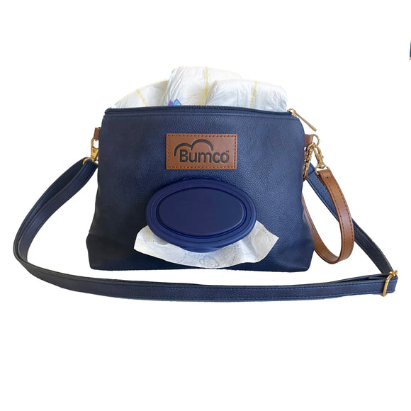 Denim Leather Diaper Clutch