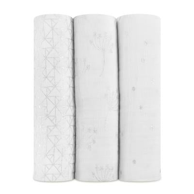 Metallic Silver Deco 3 Pack Classic Swaddles
