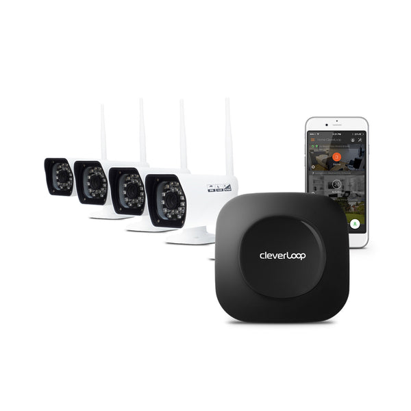 CleverLoop Security System: 1 Base Station with 4 Cameras