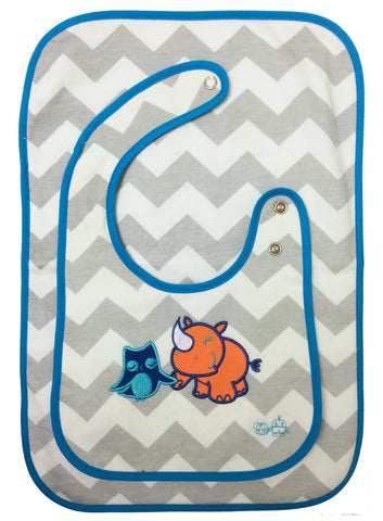 Vinny & Violet (Owl & Rhino) All Day Bib and Burp Cloth Set, Blue Trim