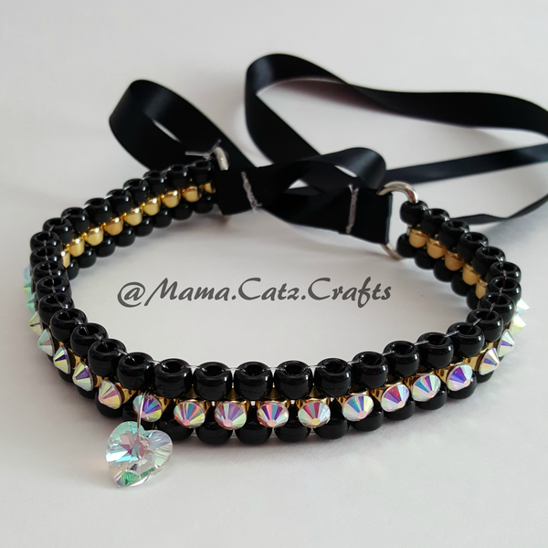Swarovski Crystal Kandi Collar - 07 (Black/Gold)