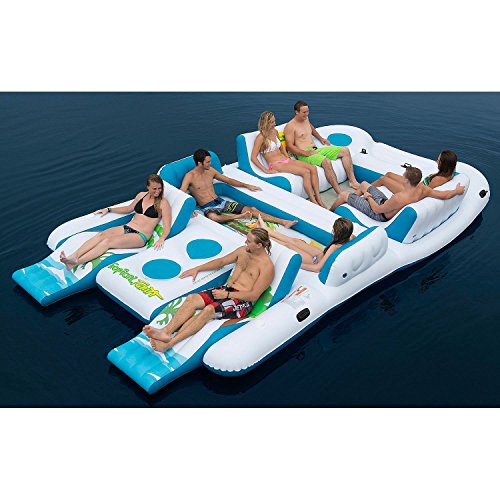 8 Person Floating Island Inflatable in Water with Cooler, Cup Holder , Platform & Lounges