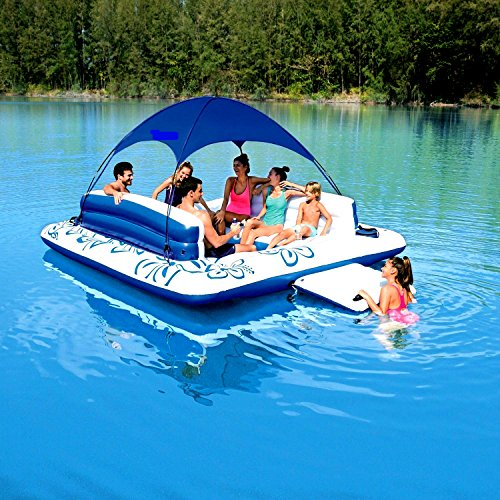 Chair Water Lounger Inflatable Lake Large Floating Island Lounge Raft  Comfortable Rafting Party Summer Fun With 2 Coolers And 6 Cup Holders 134 X  118 Inches ...