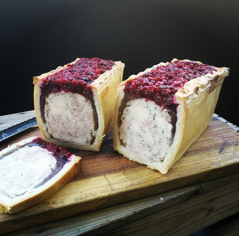 Chicken, Pork & Cranberry en Croute
