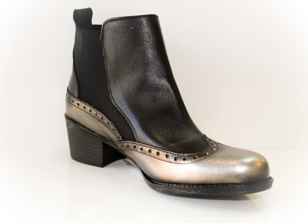 Rowena Pewter and Black Ankle Boot from Tolino