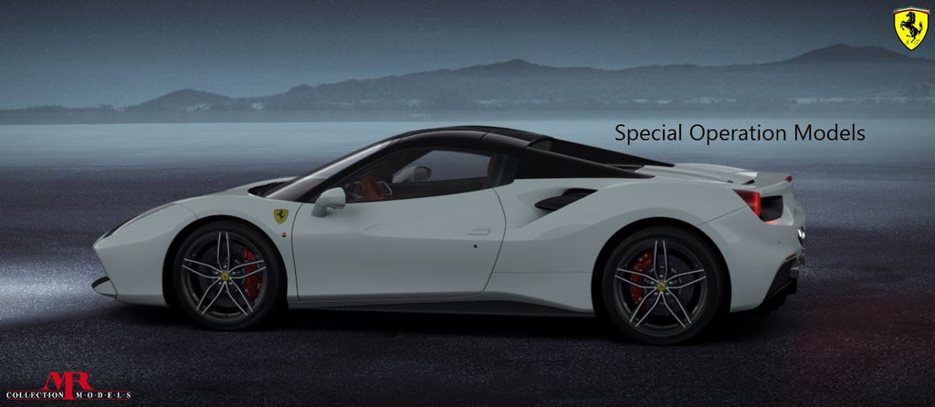 MR 1:18 Ferrari 488 Spider Hard Top (Bianco Avus/Nero) Exclusive to Special Operation Models 25 pcs **ALCANTARA BASE**