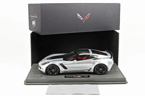 BBR 1:18 Corvette Z06 Silver Shark/Carbon Roof