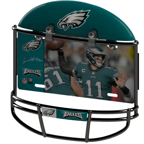 COMBO! Philadelphia Eagles Helmet Frame & Carson Wentz Metal Photo