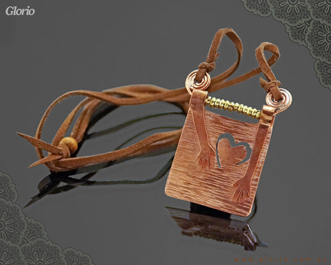 Leather & copper- Pendant-3D-In Search of Love