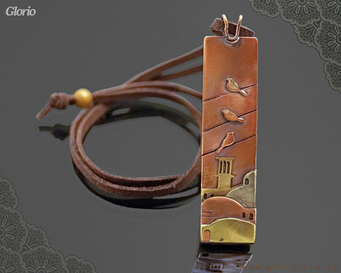Leather & copper- Pendant-Ancient City