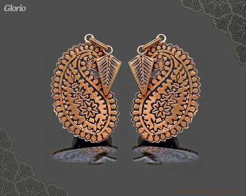 copper earring Aria Almond