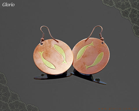 copper earring Golden Fish