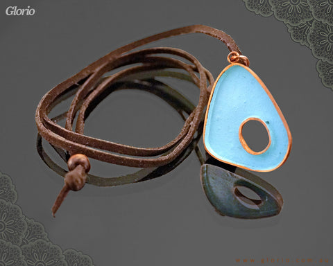 Leather & copper- Pendant-Blue Portal