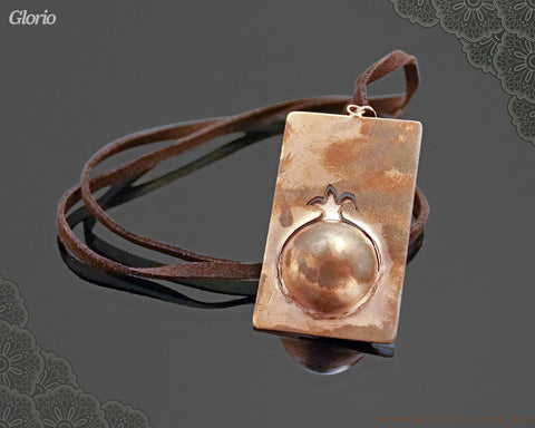 Leather & copper- Pendant-3D-Pomegranete