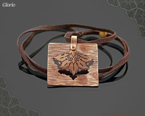 Leather & copper- Pendant-3D- King Feather