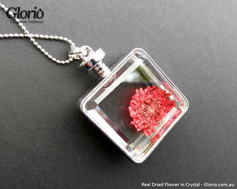Pendant - Pendant, Real Flower, Red Cube