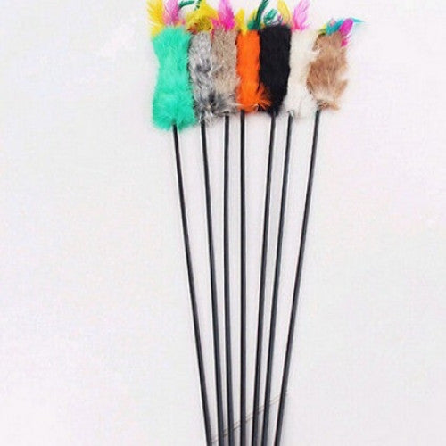 Multi-color Feather Teaser Wand Pet Toy