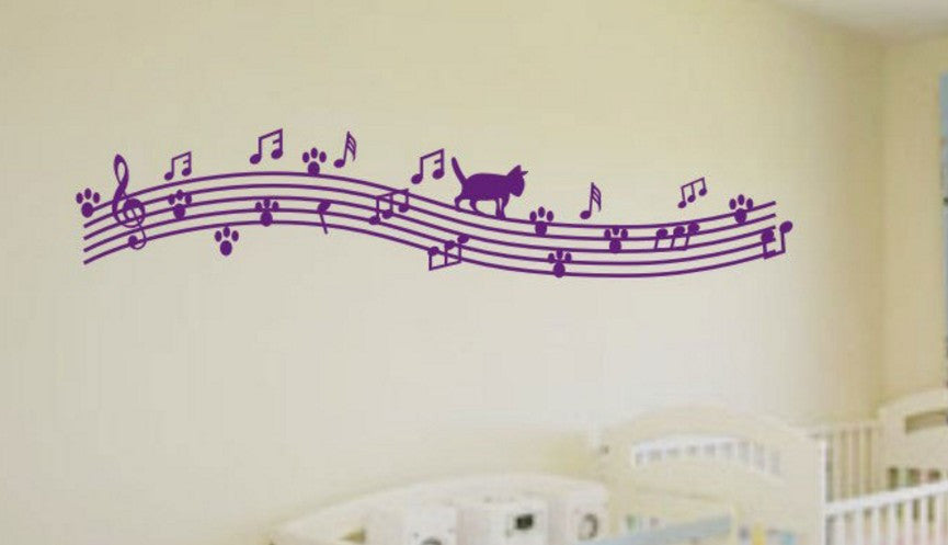 Lovey Cat Walking on Musical Notes Wall Sticker