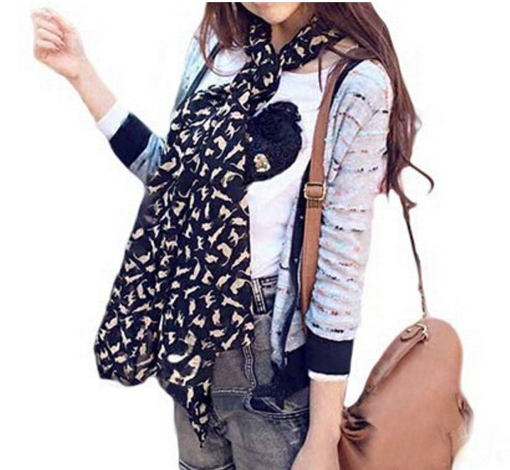 Soft Chiffon Colorful Sweet Cartoon Cat Scarf