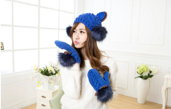 Devil Horns Cat Ear Knit Ski Beanie and Fur Gloves