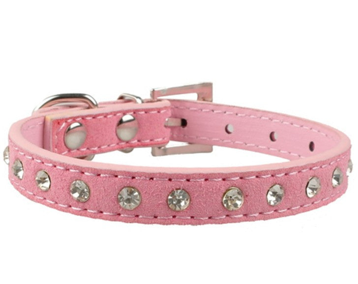 Clear Rhinestones Soft Suede Leather Collar