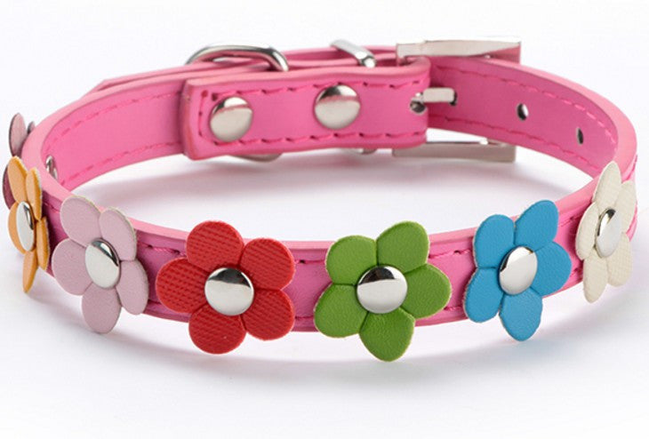 Sweet Flower Studded Leather Collar