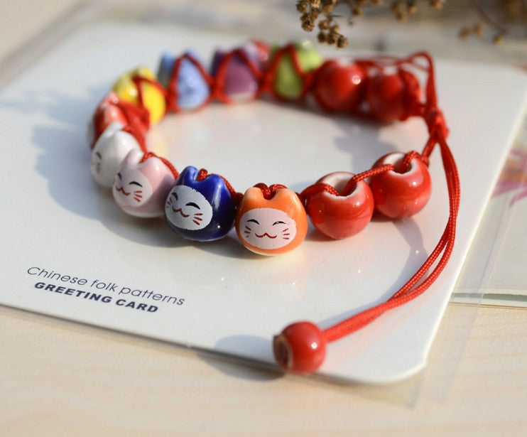 Handmade Ceramic Beads Lucky Cat Bracelet