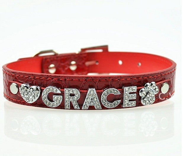 Personalized Collar With Rhinestone Buckle