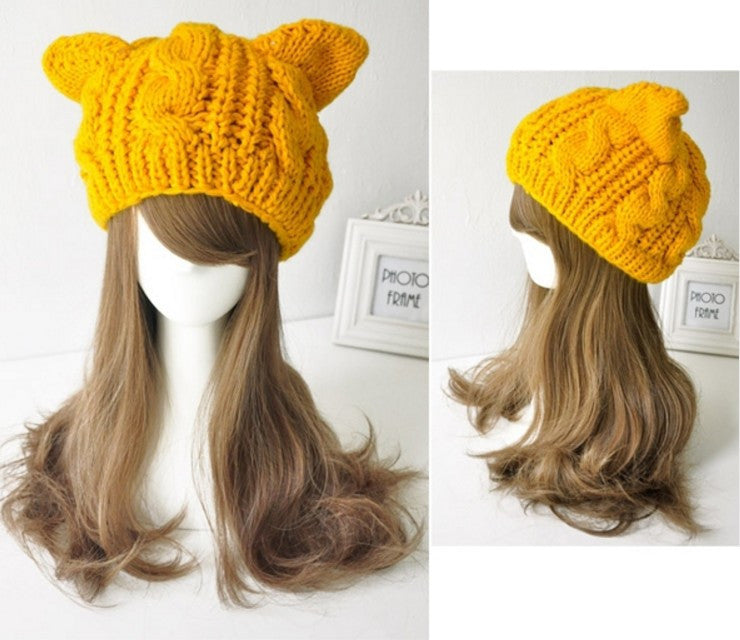 Knitted Wool Cat Ear Winter Warm Beanie