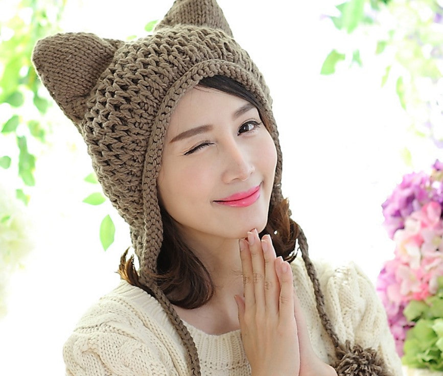 Handmade Knitted Beanie Ear Muff Hat