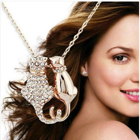 Rhinestones Crystal Couple Cat Pendant