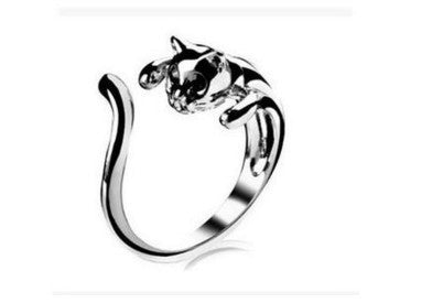 Cool Silver Plated Crystal Eye Kitten Ring