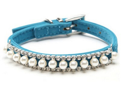 Safety Elastic Belt Bling Pearl Rhinestone Collar
