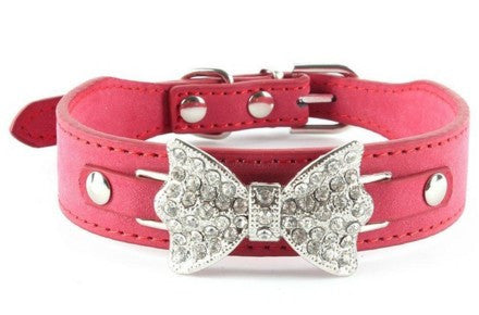 Bling Crystal Bow Leather Pet Collar
