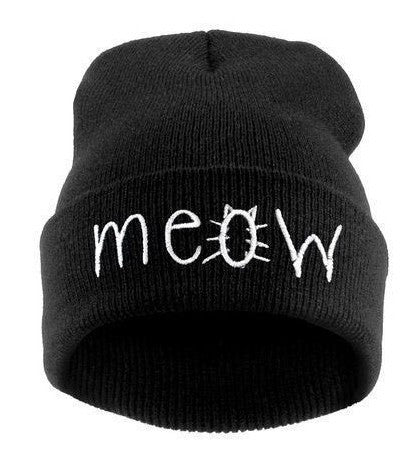 MEOW Print Warm Knitted Cotton Cap