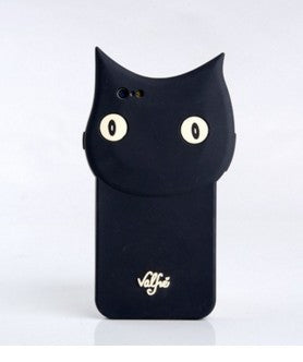 3D Cartoon Black Cat Soft Silicone iPhone Cover
