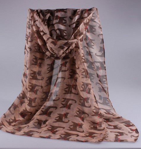 Silk Cotton Embroidered Cartoon Cat Scarf