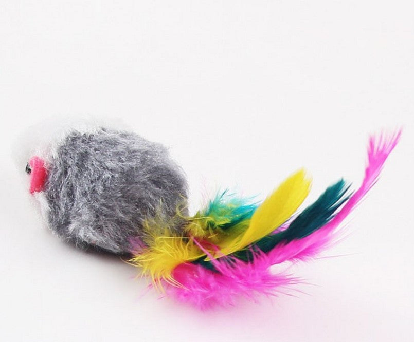 Soft Fleece False Mouse Colorful Feather Cat Toy